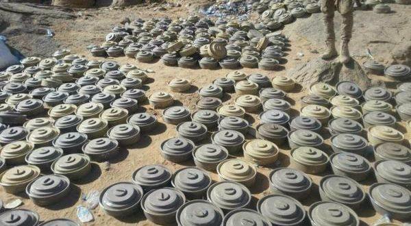 فرق هندسية تنزع مئات الألغام والعبوات الناسفة زرعتها مليشيا الحوثي في مديرية نعمان بالبيضاء