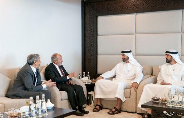 الشيخ محمد بن زايد يستقبل اليدومي والآنسي في العاصمة الإماراتية