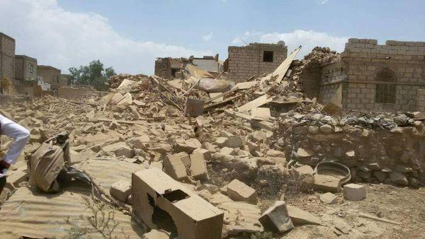 استشهاد خمسة مواطنين بقصف صاروخي لمليشيا الحوثي استهدف منازلهم في مدينة الحزم بالجوف